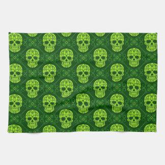Green Sugar Skull Pattern Towel