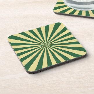 Green Sun Rays Pattern Coaster