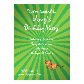 Green sunburst tiger birthday invitation
