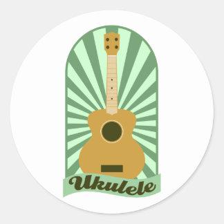 Green Sunburst Ukulele Classic Round Sticker