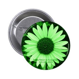 Green Sunflower Lable Button