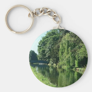 Green sunny spring day green trees river walk keychain