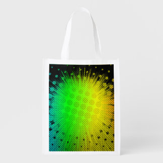Green Super Hero Sunburst Grocery Bag