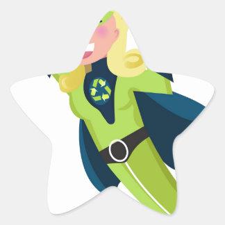 Green superhero girl star sticker