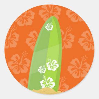 Green Surf Board on Orange Ibiscus Background Classic Round Sticker