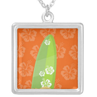 Green Surf Board on Orange Ibiscus Background Square Pendant Necklace
