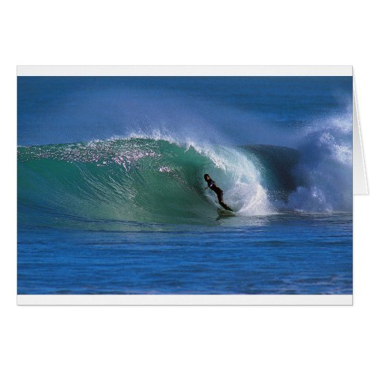 Green surfing wave New Zealand Card
