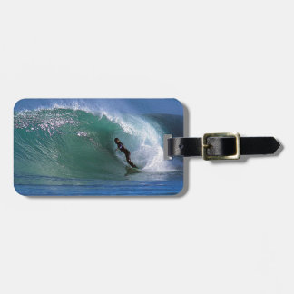 Green surfing wave New Zealand Luggage Tag