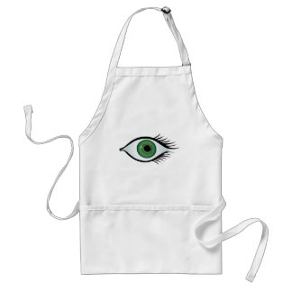 green surprised eye adult apron