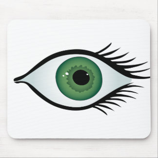 green surprised eye mouse pad