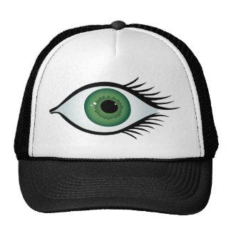 green surprised eye trucker hat
