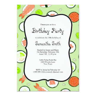 Green Sushi Theme Birthday Party Card