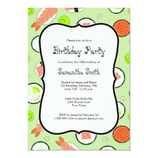 Green Sushi Theme Birthday Party Card
