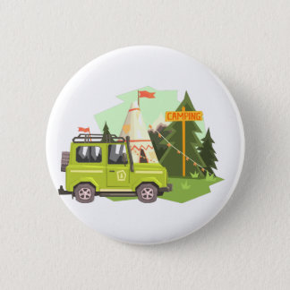 Green suv Parked Nest To The Camp Site. Cool Color Button