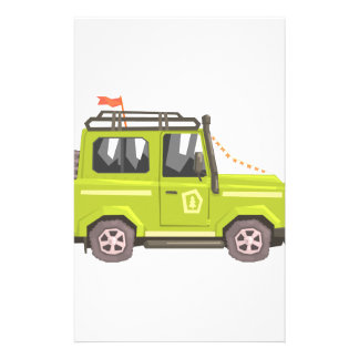 Green suv Safari Car. Cool Colorful Vector Illustr Stationery