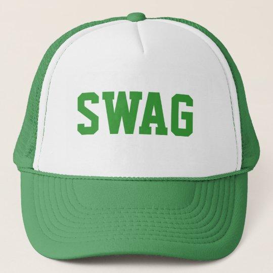 0a77de5ff42 green swag snapback trucker hat