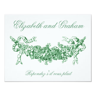 Green Swag Wedding RSVP French Style Card