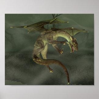 Green Swamp Dragon Poster