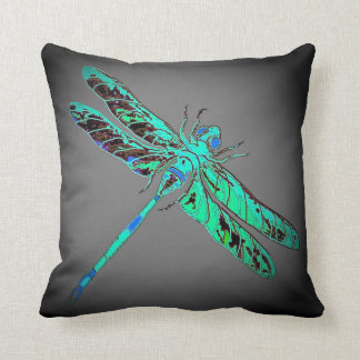 Green Swamp Dragonfly Grey Pillow by Sharles