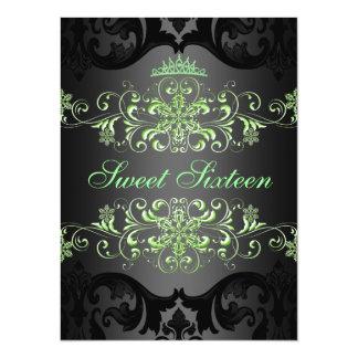 Green Sweet16 Elegant Tiara Damask Birthday Invite