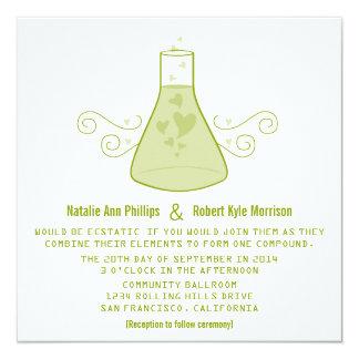 Green Sweet Chemistry Wedding Invite