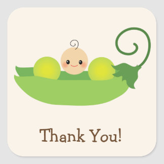 Green Sweet Pea Baby Shower Thank You Square Sticker