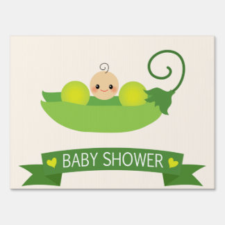 Green Sweet Pea Baby Shower Yard Sign