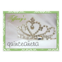green Sweet Sixteen or quinceañera party Card