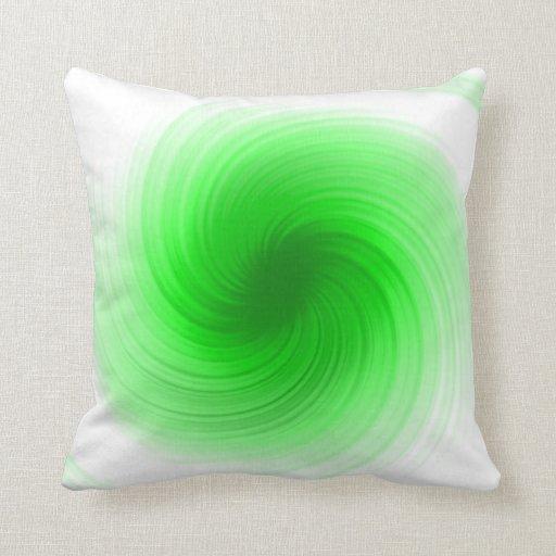 Green Swirl Abstract Art Pillow
