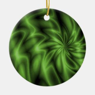 Green Swirl Ceramic Ornament