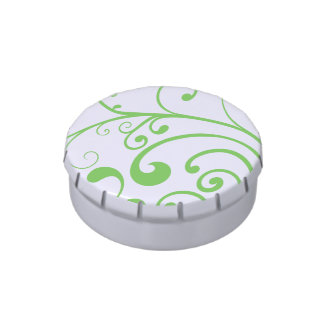 Green Swirl Custom Party Favor Candy Tins