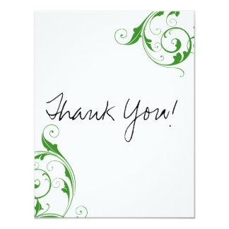 Green Swirl Flat Thank You Cards