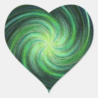 Green Swirl Heart Sticker