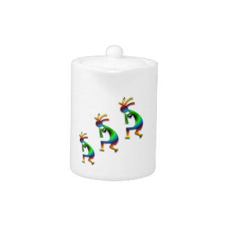 Green Swirl Kokopelli Teapot