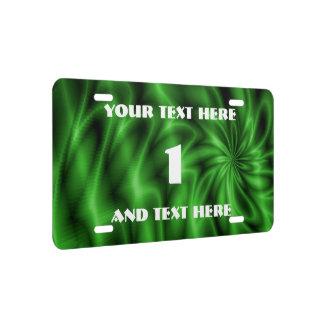 Green Swirl License Plate