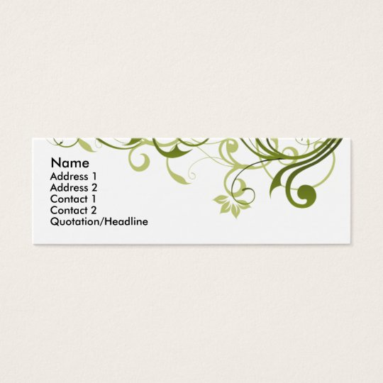 Green Swirl Mini Business Card
