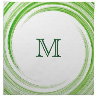Green Swirl Modern Abstract Monogram #3 Cloth Napkin