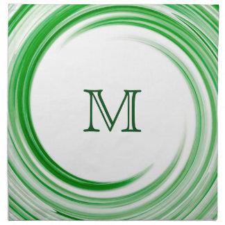 Green Swirl Modern Abstract Monogram Napkin