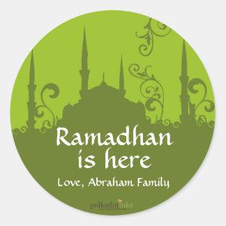 Green Swirl Mosque Stickers