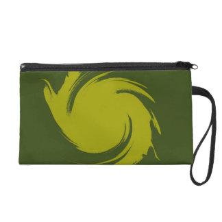 Green Swirl Paint Art Design Abstract Wristlet Purse