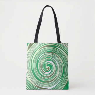 Green swirl pattern tote bag