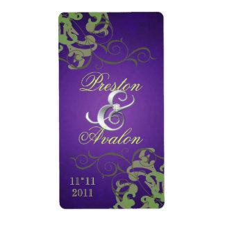 Green Swirl Silver Jeweled Purple Wine Label