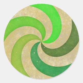 Green swirl classic round sticker
