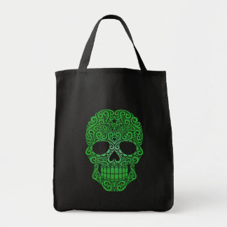 Green Swirling Sugar Skull Tote Bag