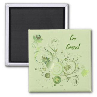 Green Swirls 2 Inch Square Magnet