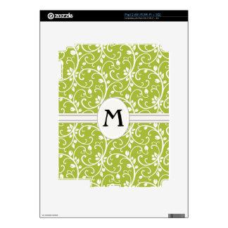 Green Swirls Abstract Pattern Monogram eReader Skin For The iPad 2