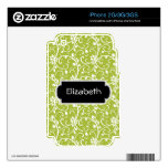Green Swirls Abstract Pattern Monogram Phone Skin Decals For The iPhone 3GS