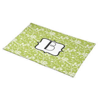Green Swirls Abstract Pattern Monogram Placemat Cloth Placemat