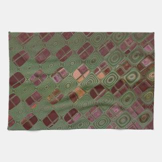 Green Swirls and Earth Tones Hand Towel