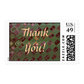 Green Swirls and Earth Tones Postage